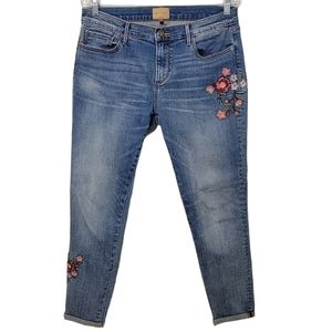 Driftwood Beau Embroidered Skinny Crop Jeans
